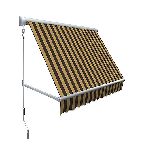 Mesa 10 ft. Retractable Window Awning (24-inch Projection) in Brown/Tan Stripe
