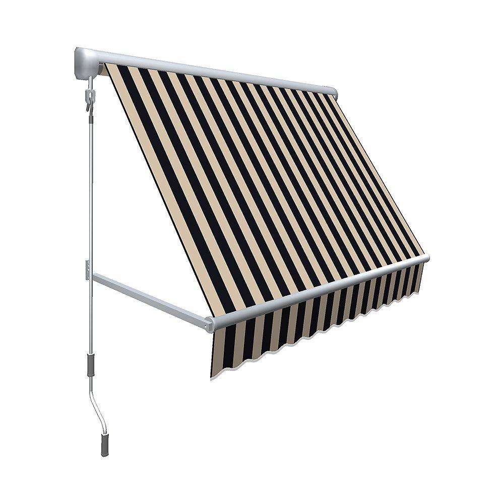 Beauty-Mark 0,91m (3pi) MESA Auvent rétractable de fenêtre 60,96cm (24po) de haut x 60,96cm (24po) de projection - Noir / beige raies
