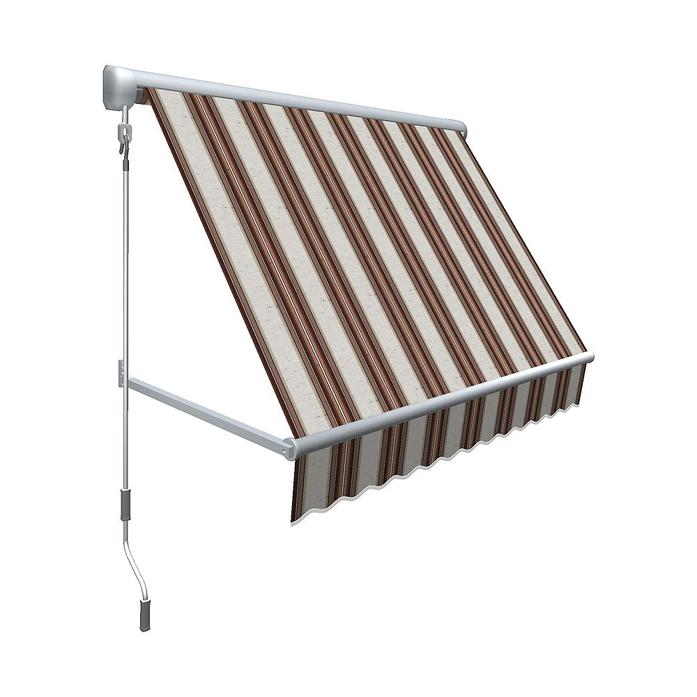 "Beauty-Mark 4 Feet MESA Window Retractable Awning 24"" height x 24"" projection - Brown/Terra Cotta Multi Stripe"