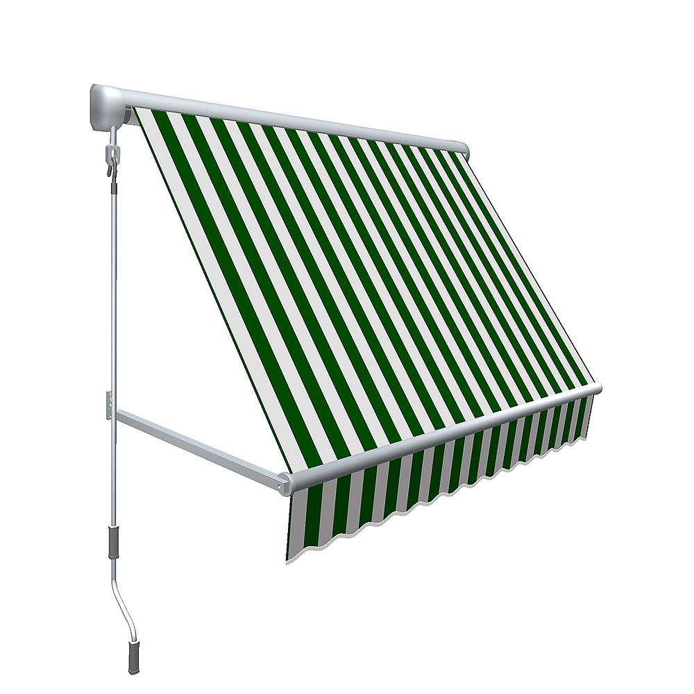 """Beauty-Mark 6 Feet MESA Window Retractable Awning 24"""" height x 24"""" projection - Forest/White stripe"""