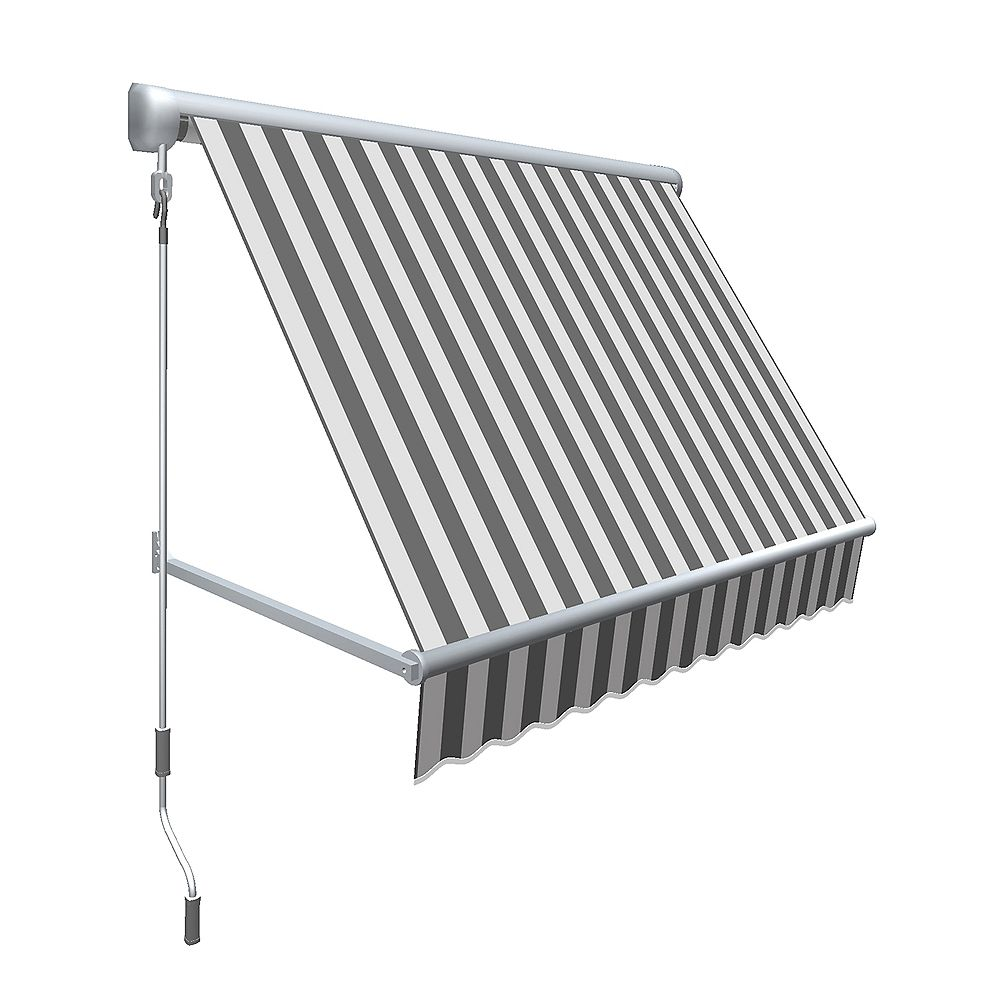 Beauty-Mark Mesa 8 ft. Retractable Window Awning (24-inch Projection) in Gray/White Stripe
