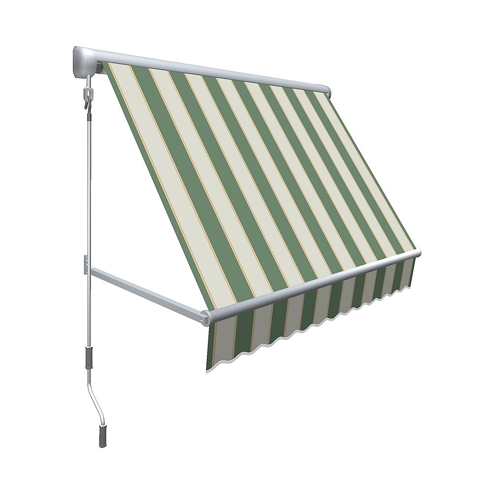 "Beauty-Mark 4 Feet MESA Window Retractable Awning 24"" height x 24"" projection- Sage/Linen/Cream Stripe"