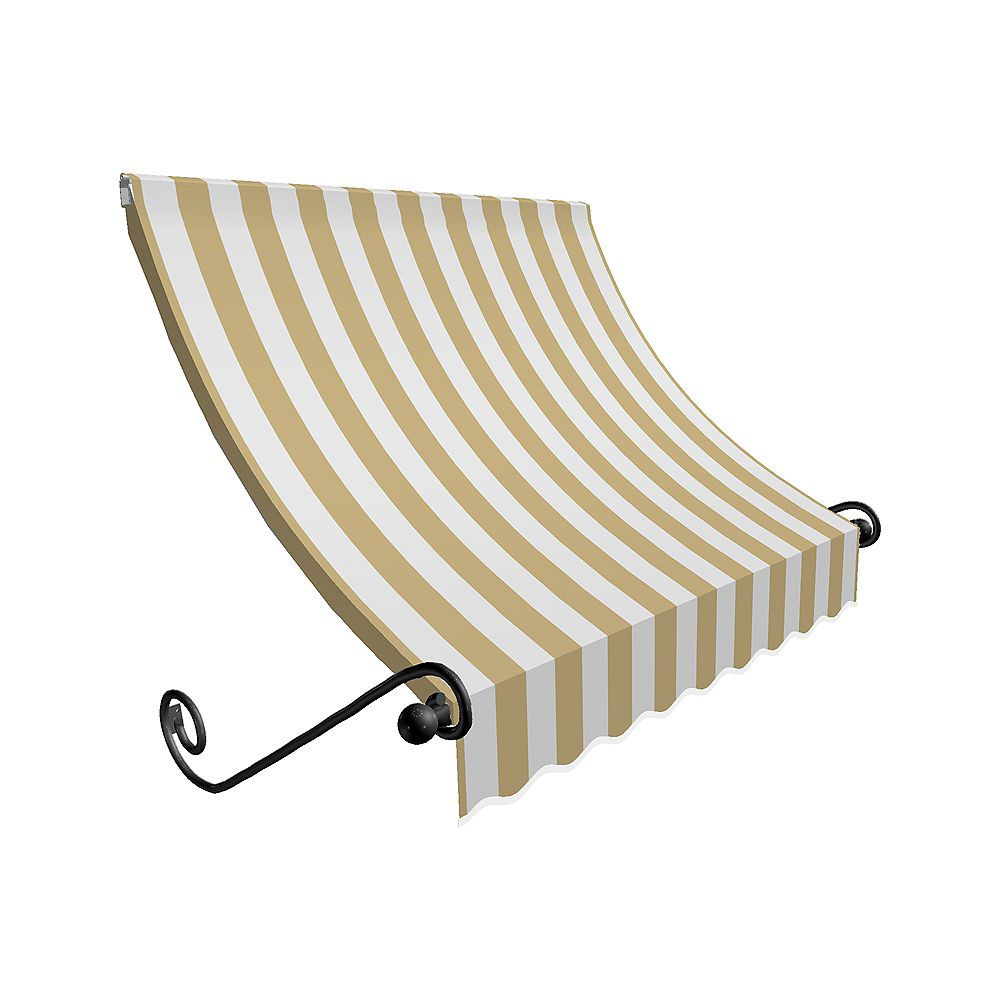 Beauty-Mark 3 Feet MONTREAL (31 in.H x 24 in.D) Window / Entry Awning Tan / White Stripe