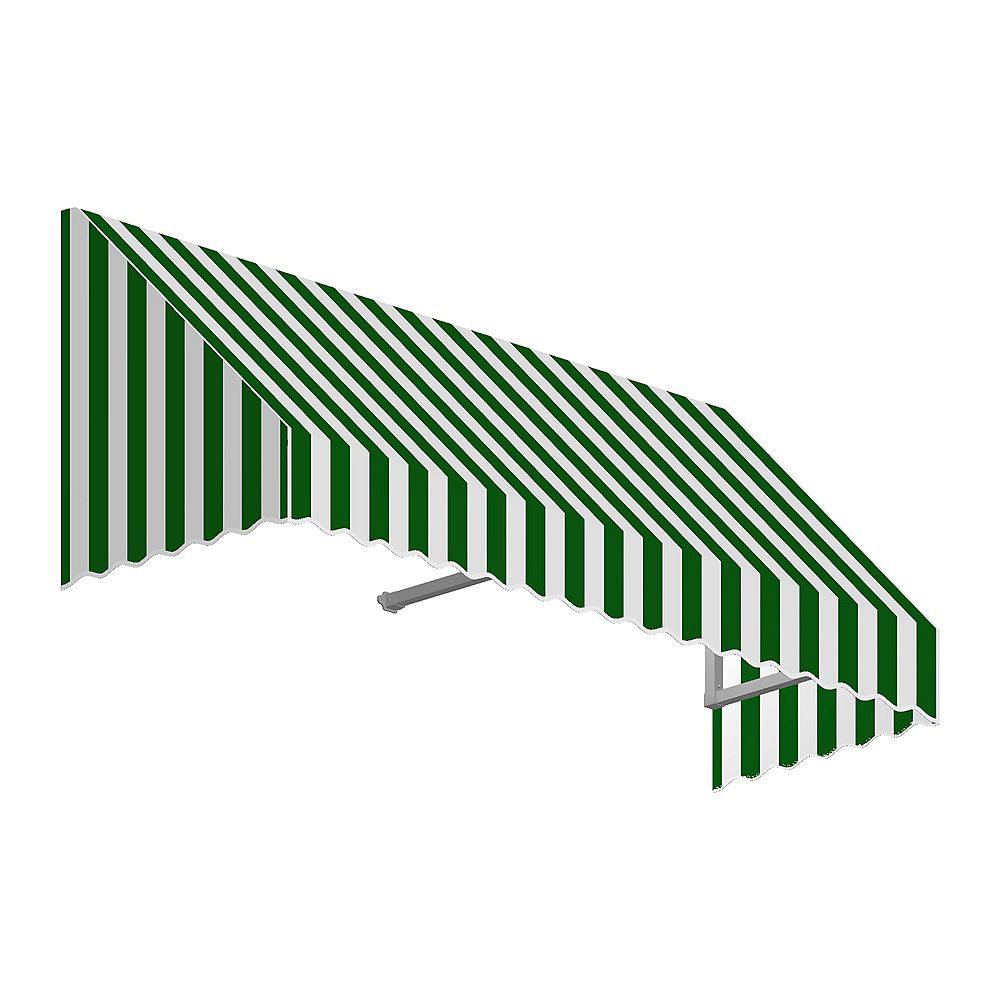 Beauty-Mark 4 Feet OTTAWA (18 in.H x 36 in.D) Low Eaves / Window / Entry Awning Forest / White Stripe