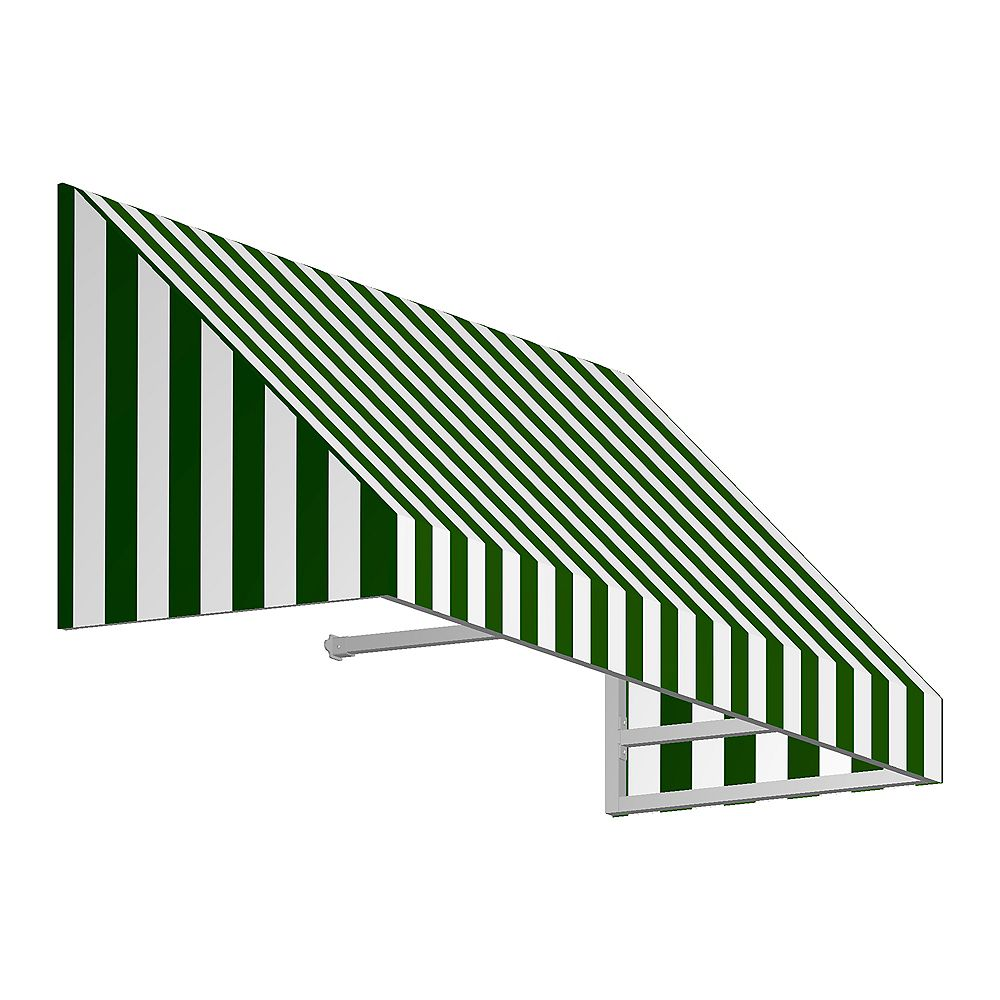 Beauty-Mark 3 Feet TORONTO (18 in.H X 36 in.D) Low Eaves / Window / Entry Awning Forest / White Stripe