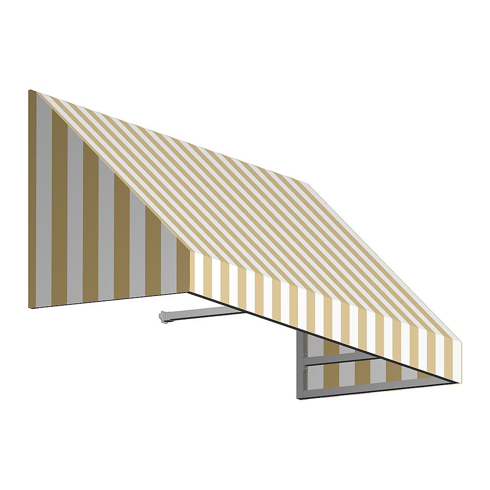 Beauty-Mark Toronto 5 ft. Window / Entry Awning (36-inch Projection) in Tan / White Stripe