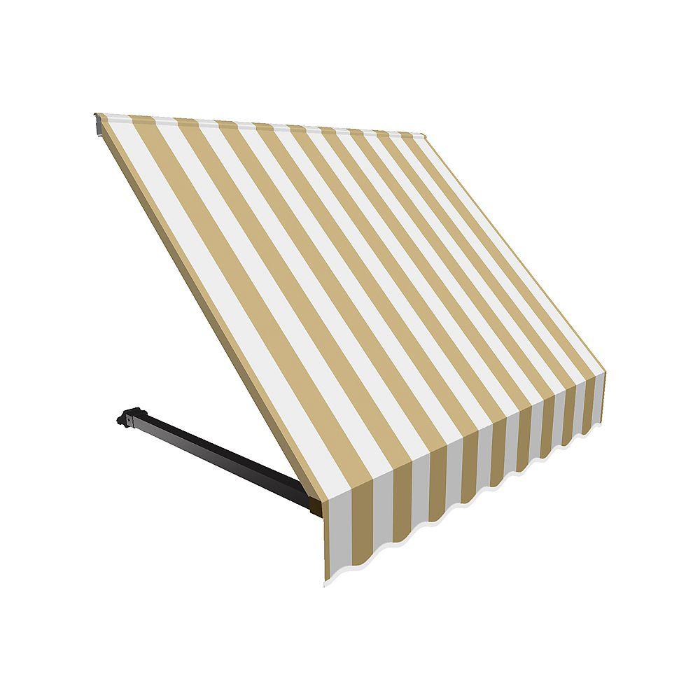 Beauty-Mark 3 Feet WINNIPEG  (31 in.H x 24 in.D) Window / Entry Awning Tan / White Stripe