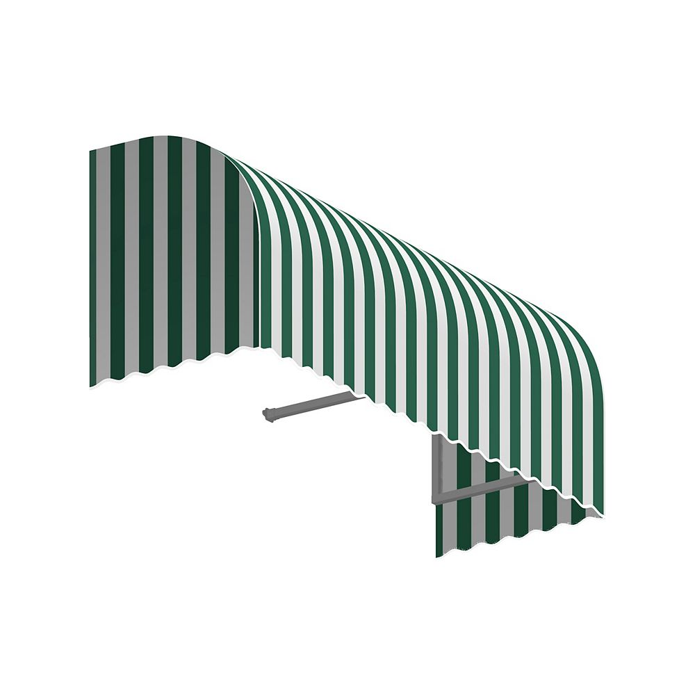 Beauty-Mark Terrebonne 3 ft. Window / Entry Awning (36-inch Projection) in Forest / White Stripe