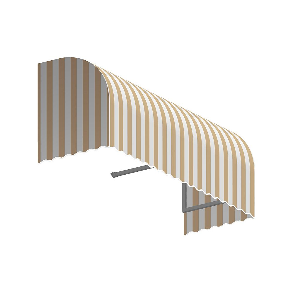Beauty-Mark 3 Feet TERREBONNE (44 in.H x 36 in.D) Window / Entry Awning Tan / White Stripe