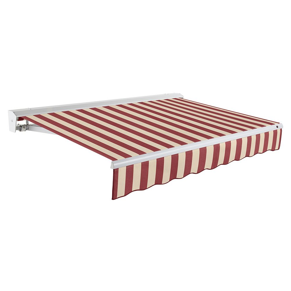 Beauty-Mark Destin 20 ft. Motorized (Right Side) Retractable Awning with Hood (10 ft. Projection) in Burgundy / Tan Stripe