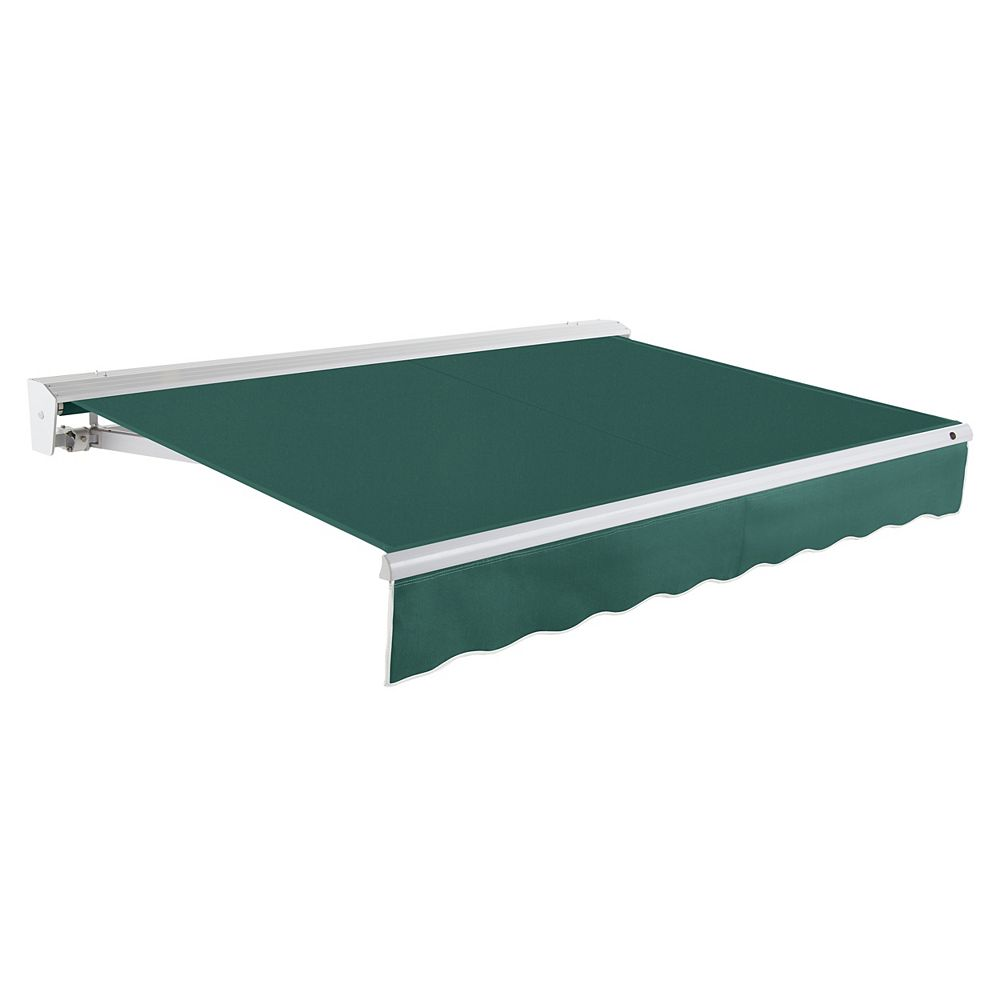 Beauty-Mark Destin 24 ft. Motorized (Right Side) Retractable Awning with Hood (10 ft. Projection) in Forest
