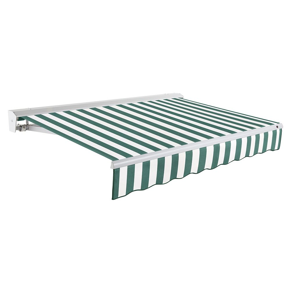Beauty-Mark 8 ft. DESTIN (7 ft. Projection) Motorized (right side) Retractable Awning with Hood - Forest / White Stripe