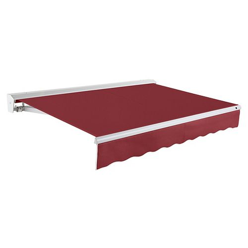 Destin 18 ft. Right Side Motorized Retractable Awning with Hood (10 ft. Projection) in Burgundy