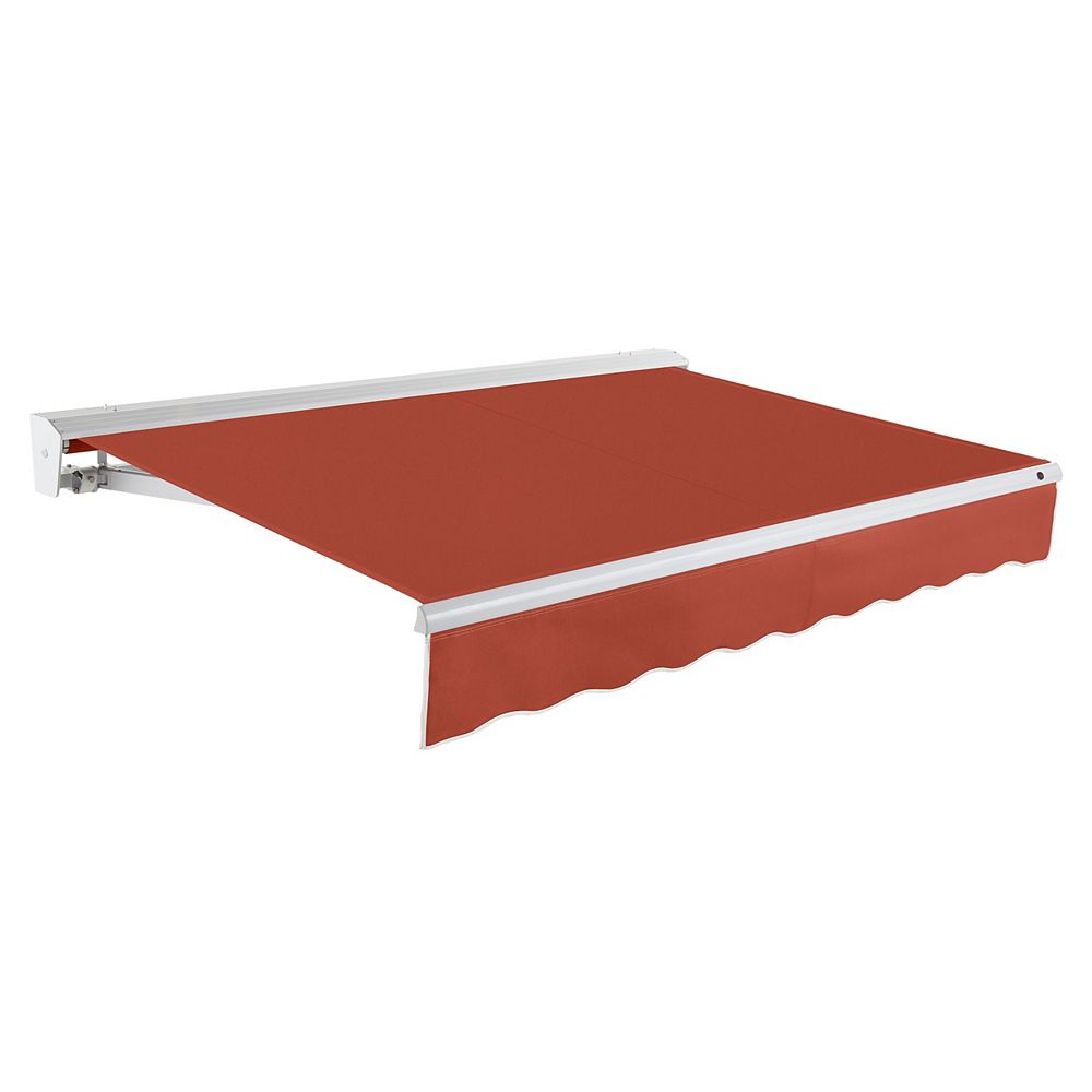 Beauty-Mark Destin 10 ft. Motorized (Left Side) Retractable Awning with Hood (8 ft. Projection) in Terra Cotta