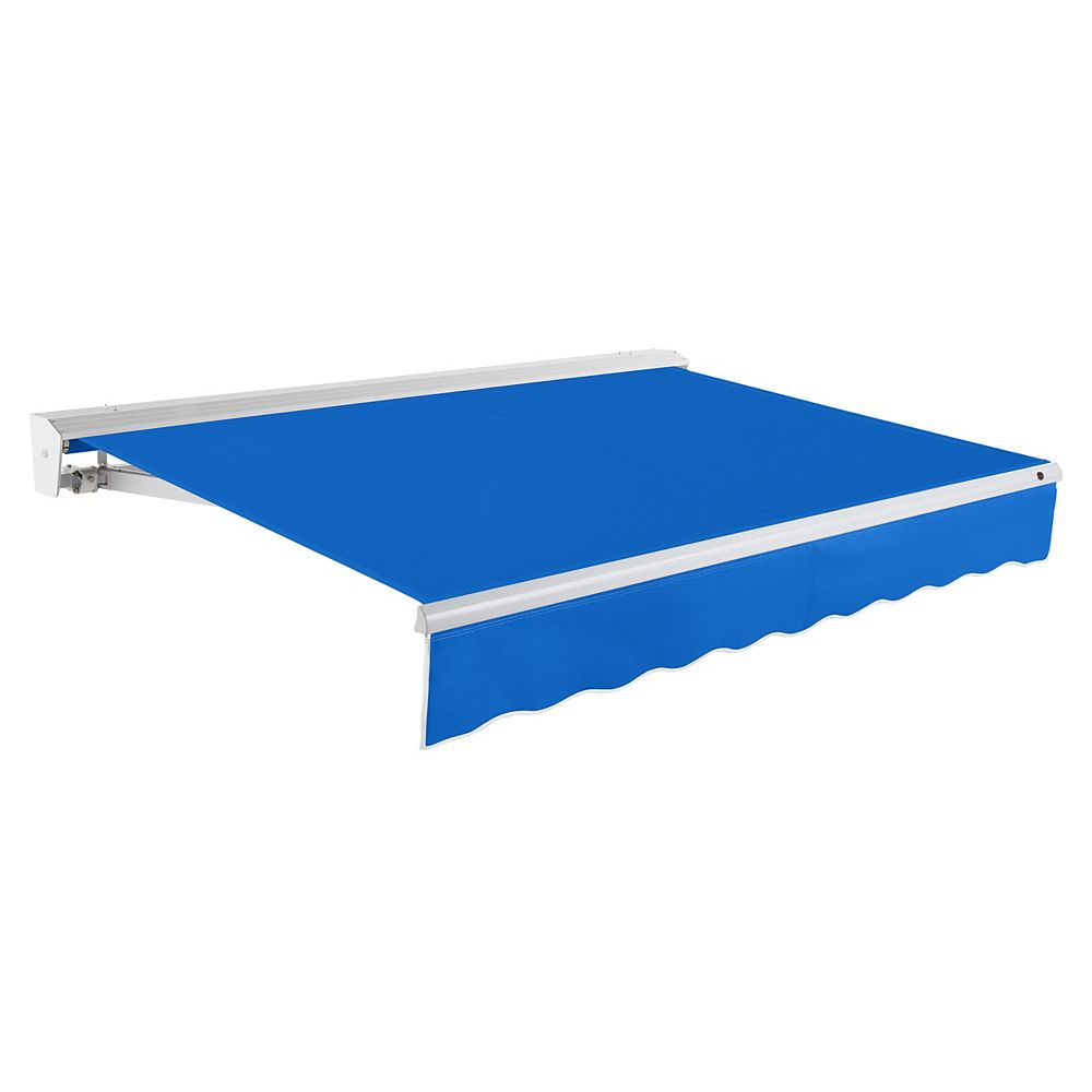 Beauty-Mark Destin 24 ft. Motorized (Left Side) Retractable Awning with Hood (10 ft. Projection) in Bright Blue