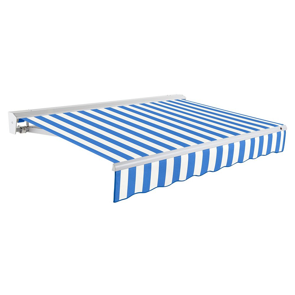 Beauty-Mark 8 ft. DESTIN (7 ft. Projection) Motorized (right side) Retractable Awning with Hood - Bright Blue / White Stripe