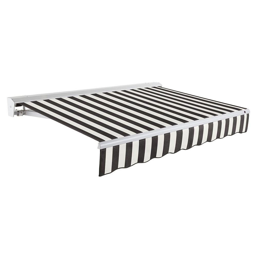 Beauty-Mark 20 ft. DESTIN (10 ft. Projection) Manual Retractable Awning with Hood - Black / White Stripe
