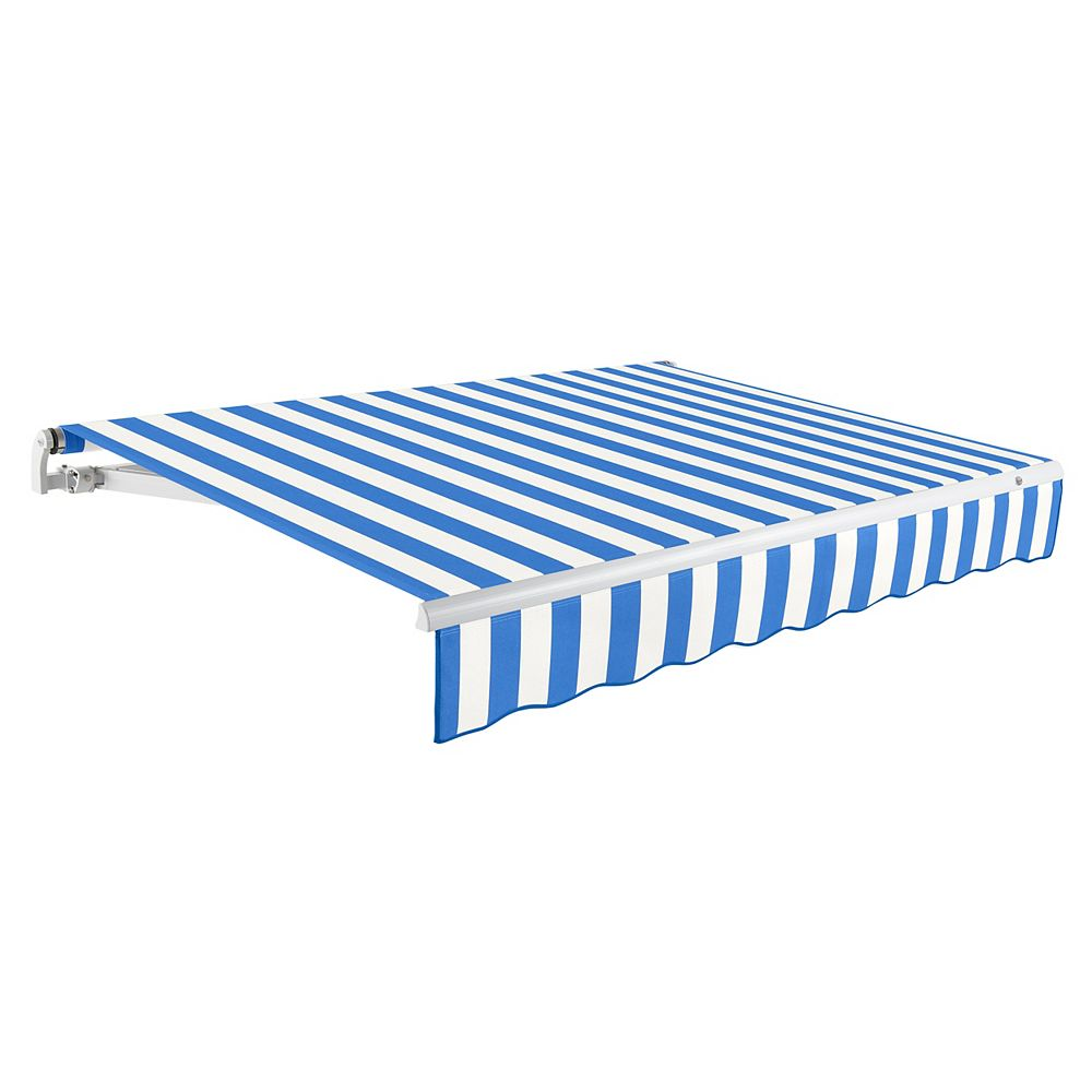 Beauty-Mark Maui 16 ft. Motorized Retractable Awning (10 ft. Projection) (Left Side Motor) in Bright Blue / White Stripe