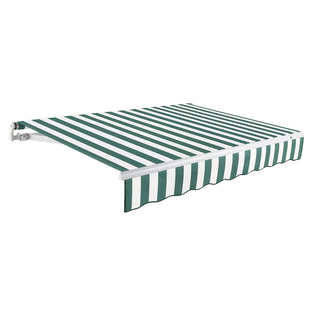 Beauty-Mark Maui 8 ft. Motorized Retractable Awning (Right Side Motor) (7 ft. Projection) in Forest / White Stripe