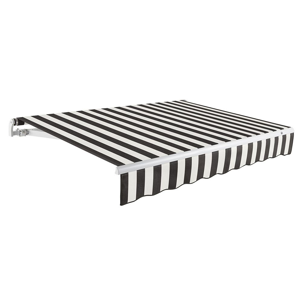 Beauty-Mark Maui 12 ft. Manual Retractable Awning (10 ft. Projection) in Black / White Stripe