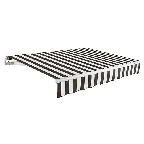 Maui 18 ft. Manual Retractable Awning (10 ft. Projection) in Black / White Stripe