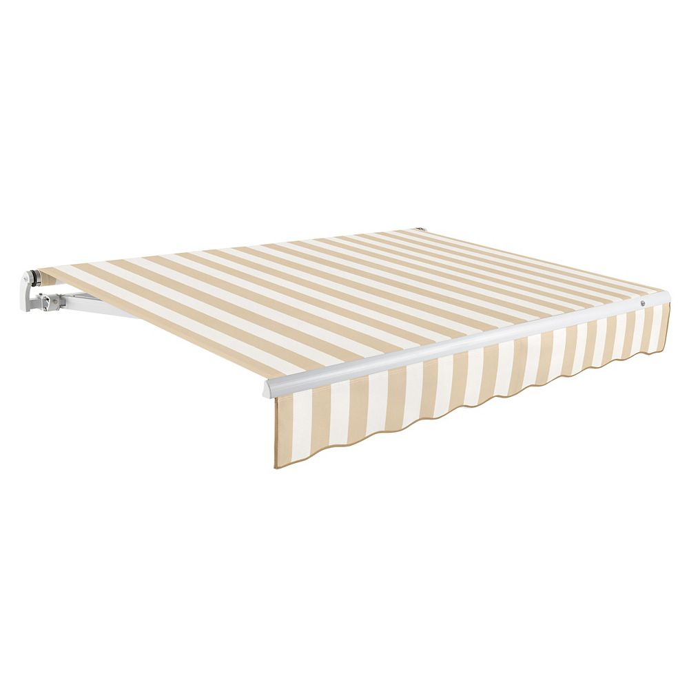 Beauty-Mark 14 ft. MAUI (10 ft. Projection) Manual Retractable Awning - Tan / White Stripe