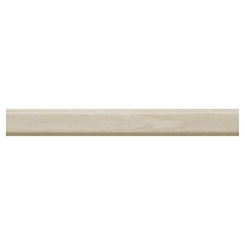 Rebord détagère en bois dur blanc - 3/8 x 3/4 x 96 pouces