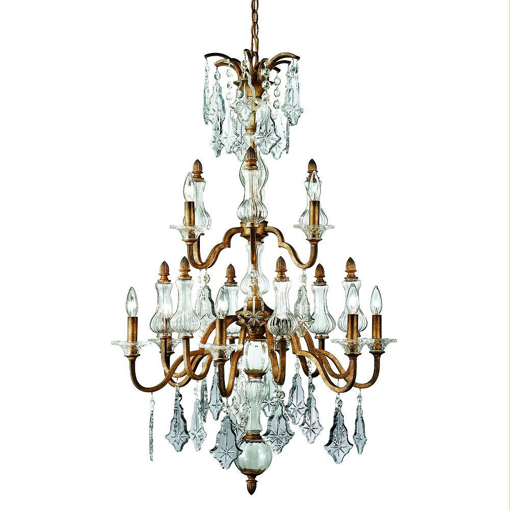 Eurofase Adivina Collection 9-Light Antique Gold Chandelier