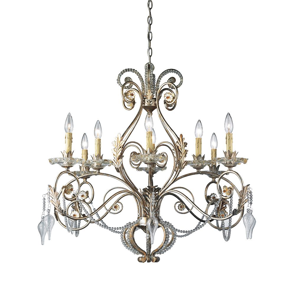Eurofase Allure Collection 8-Light Antique Silver Chandelier