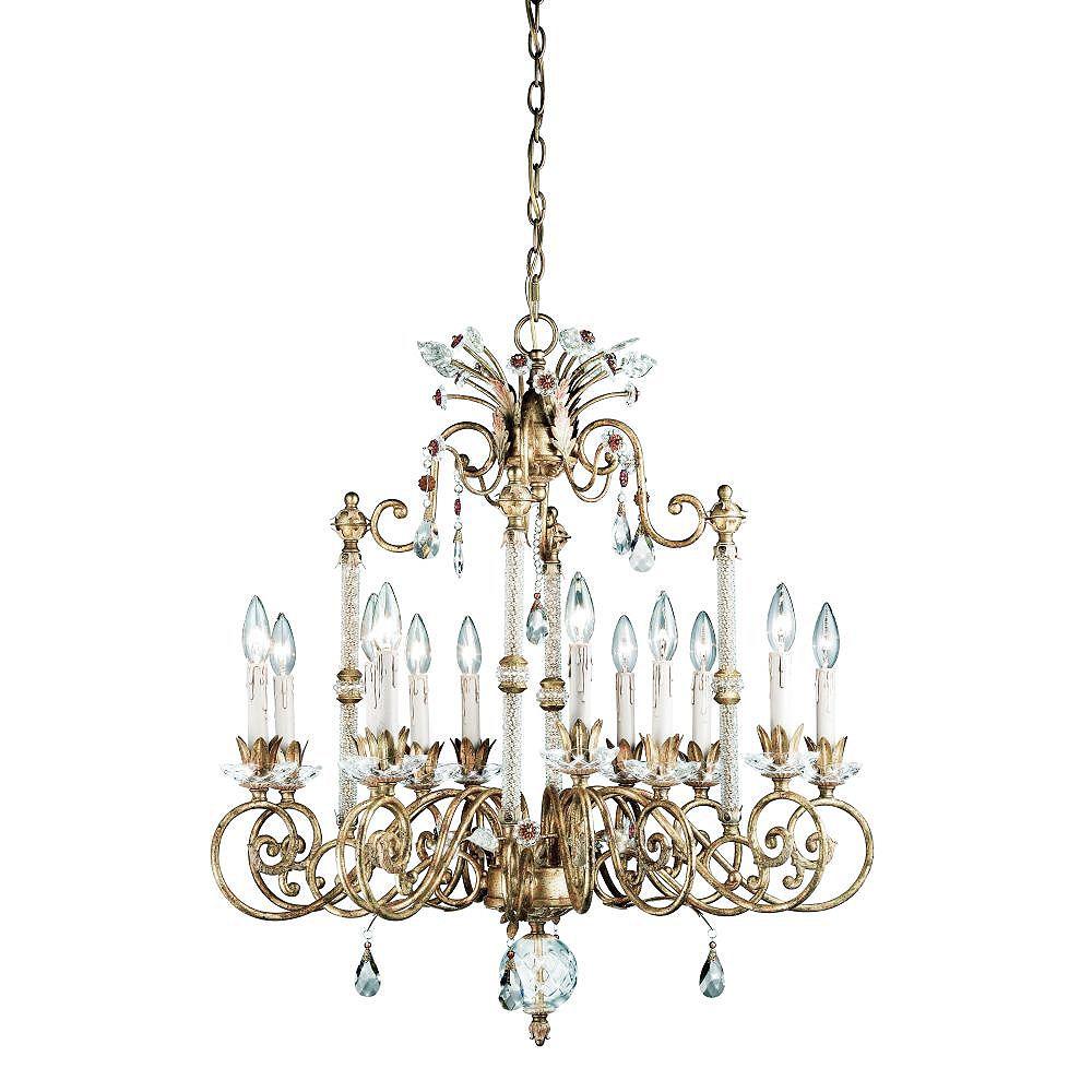 Eurofase Dahlia Collection 12-Light Antique Gold Chandelier
