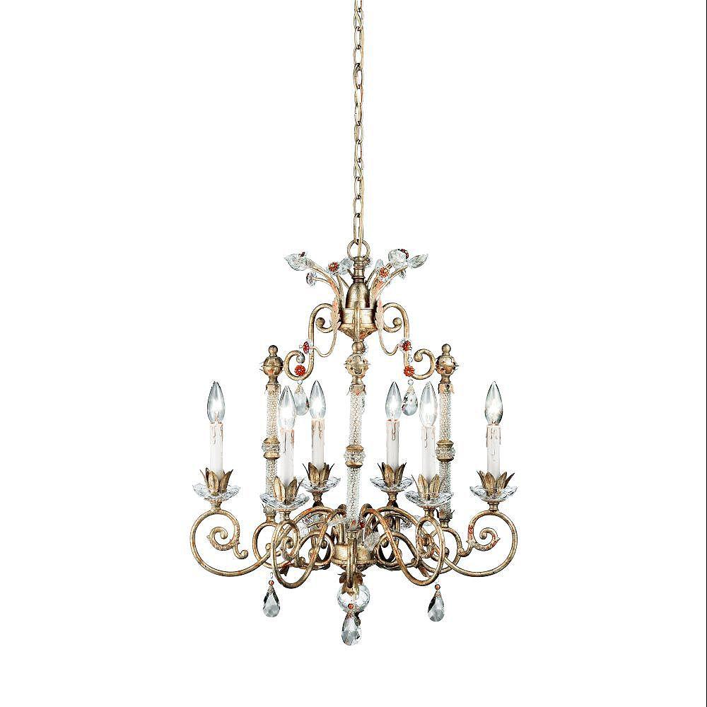 Eurofase Dahlia Collection 6-Light Antique Gold Chandelier