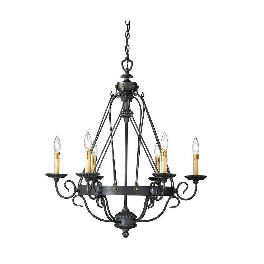 Eurofase Glasgow Collection 6-Light Burnt Sienna Chandelier