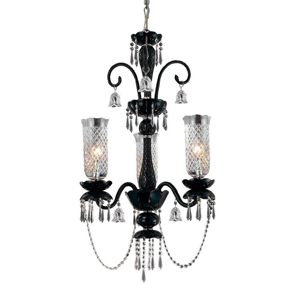 Eurofase Mariah Collection 3-Light Black Chandelier