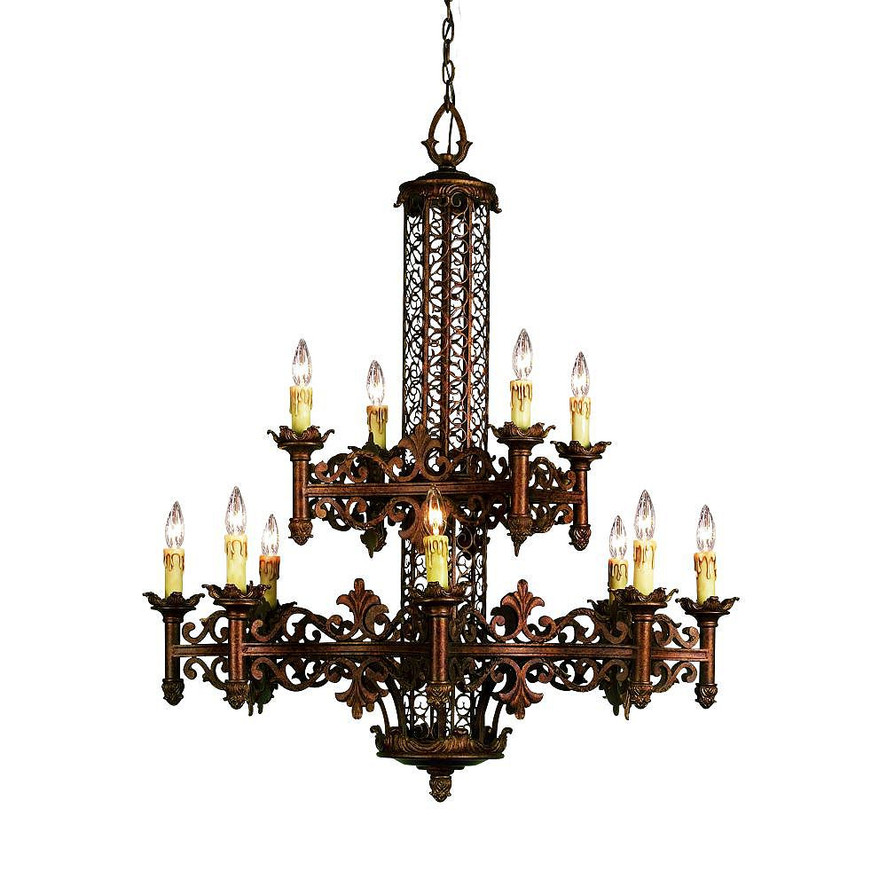 Eurofase Modesa Collection 12-Light Rustic Bronze Chandelier