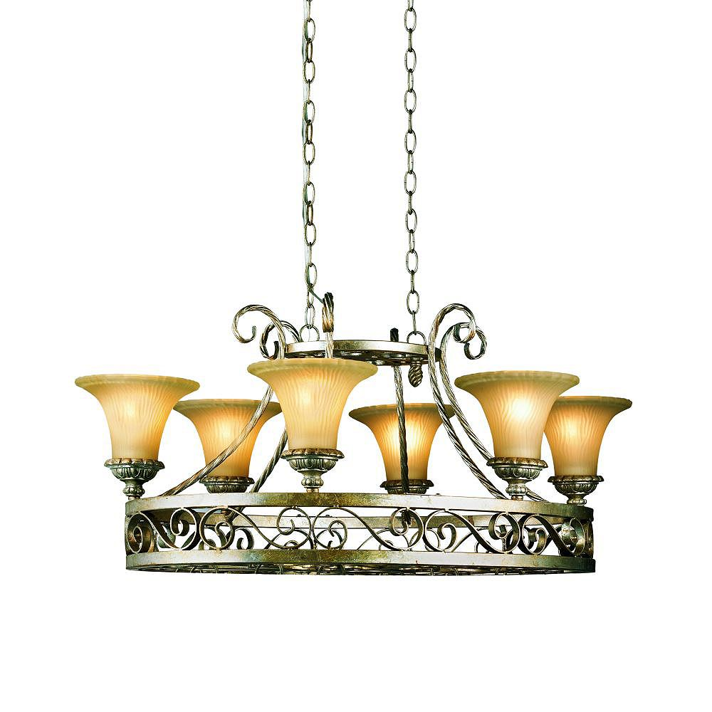 Eurofase Seraphine Collection 6-Light Silver and Gold Chandelier