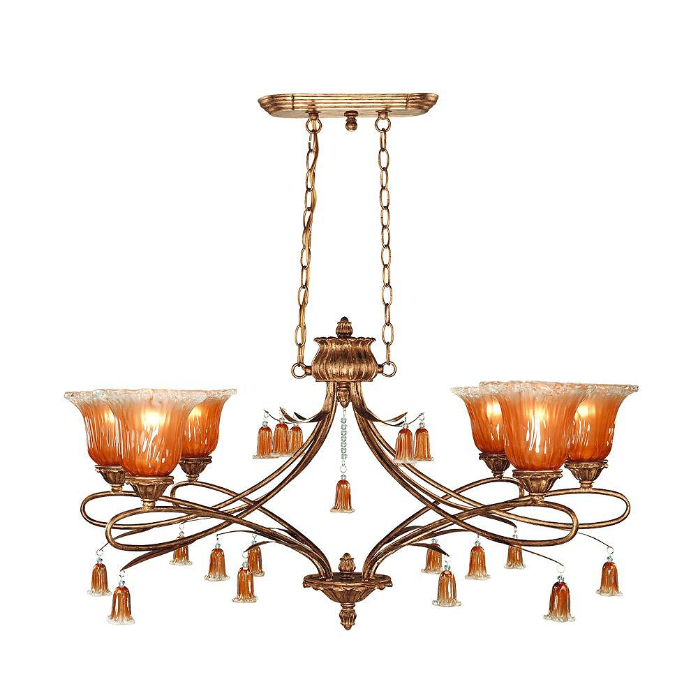 Eurofase Sorrento Collection 6-Light Weathered Gold Chandelier
