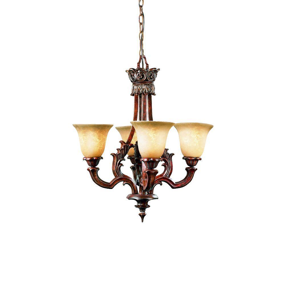 Eurofase Tiverton Collection 4-Light Antique Rust Chandelier