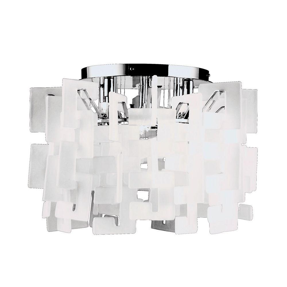 Eurofase Numero Collection 8-Light Chrome Flush Mount