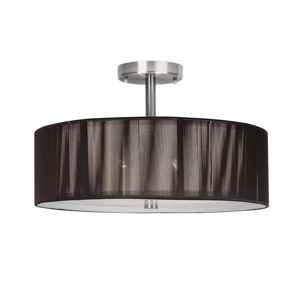 Eurofase Yorkton Collection 2-Light Satin Nickel Semi-Flush Mount