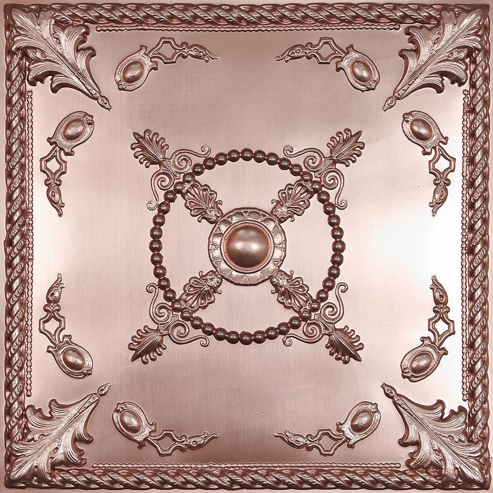 Ceilume Alexander Faux Copper Ceiling Tile, 2 Feet x 2 Feet Lay-in or Glue up