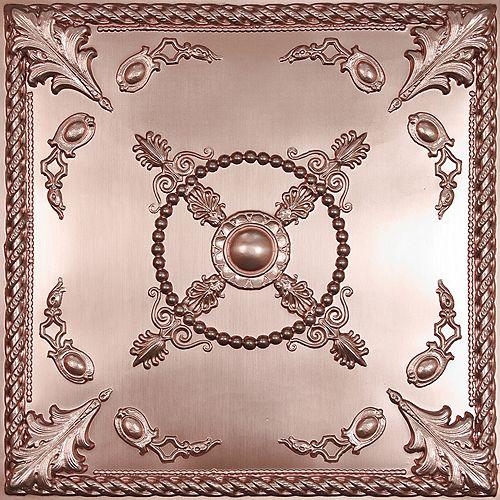 Ceilume Alexander Tuile de Plafond en Faux Cuivre, 2 pieds x 2 pieds à poser ou coller