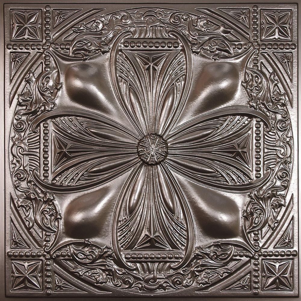 Ceilume Avalon Faux Tin Ceiling Tile, 2 Feet x 2 Feet Lay-in or Glue up