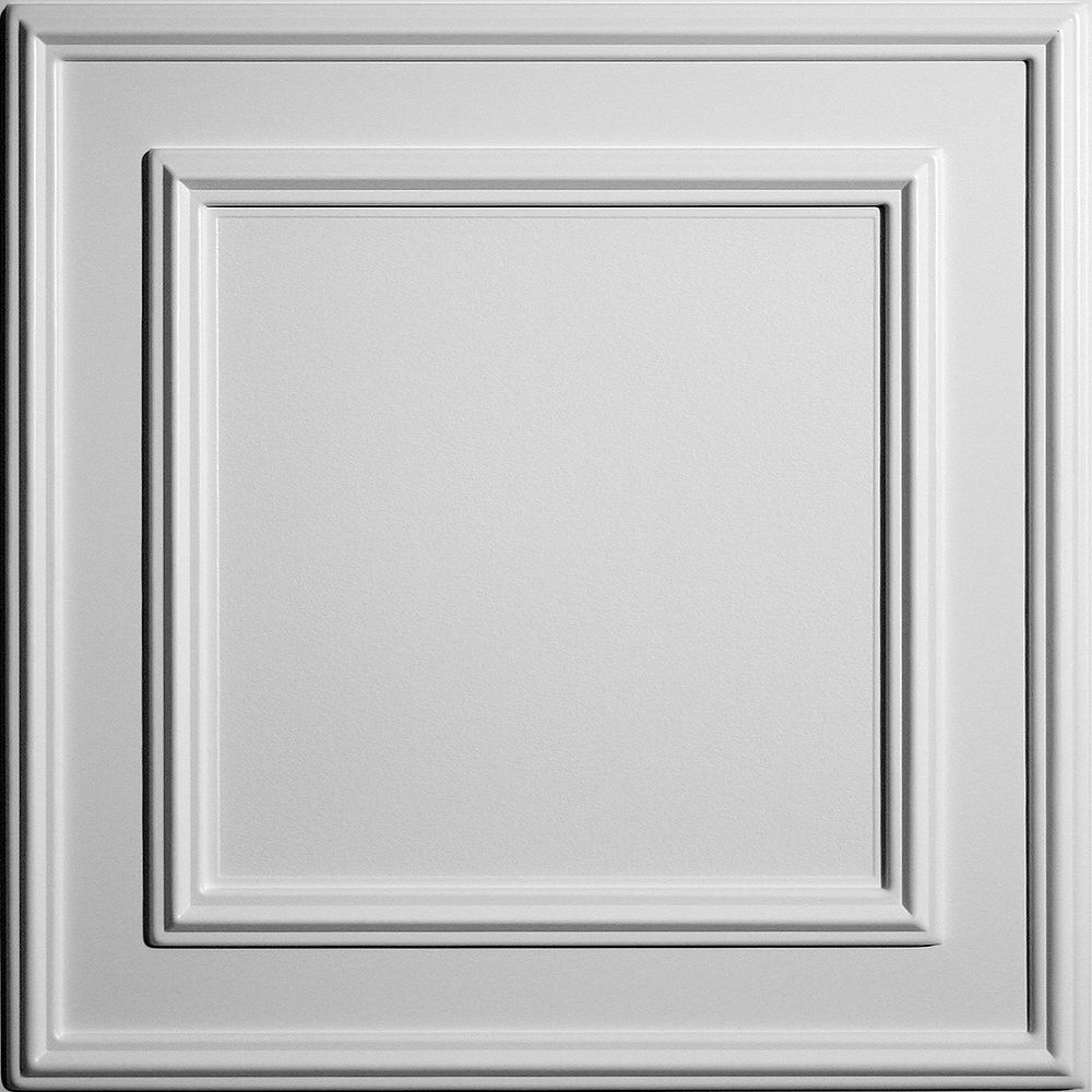 Ceilume Cambridge 2 ft. x 2 ft. Lay-in or Glue-in White Ceiling Tile