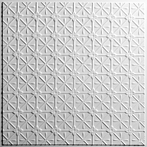 Ceilume Continental White Ceiling Tile, 2 Feet x 2 Feet Lay-in or Glue up