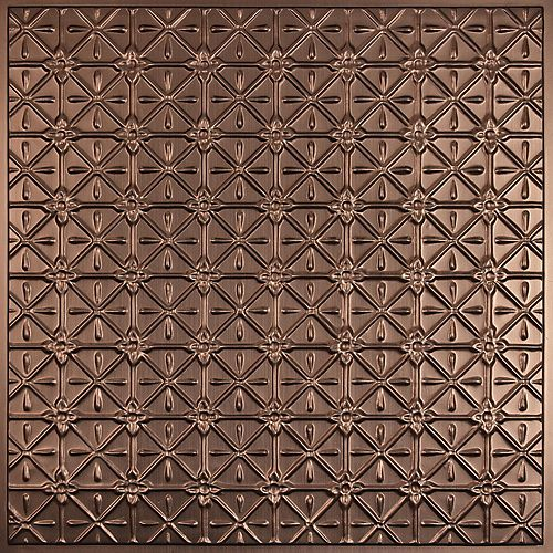 Ceilume Continental Tuile de Plafond en Faux Bronze,2 pieds x 2 pieds à poser ou coller