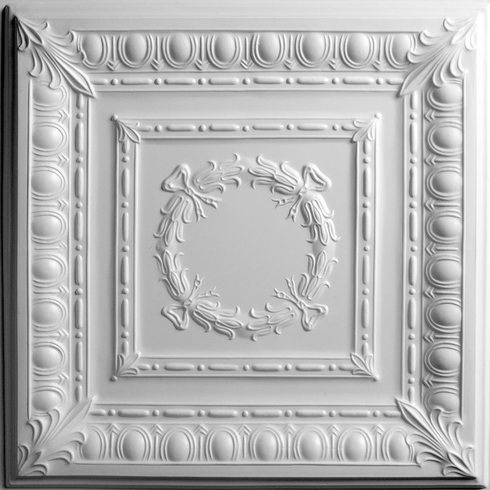Ceilume Empire White Ceiling Tile, 2 Feet x 2 Feet Lay-in or Glue up