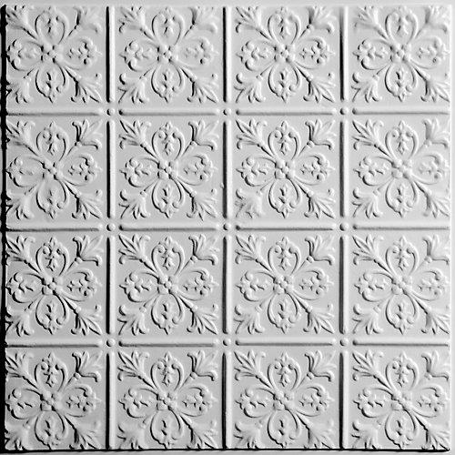 Fleur-de-lis Tuile de Plafond Blanche, 2 pieds x 2 pieds à poser ou coller