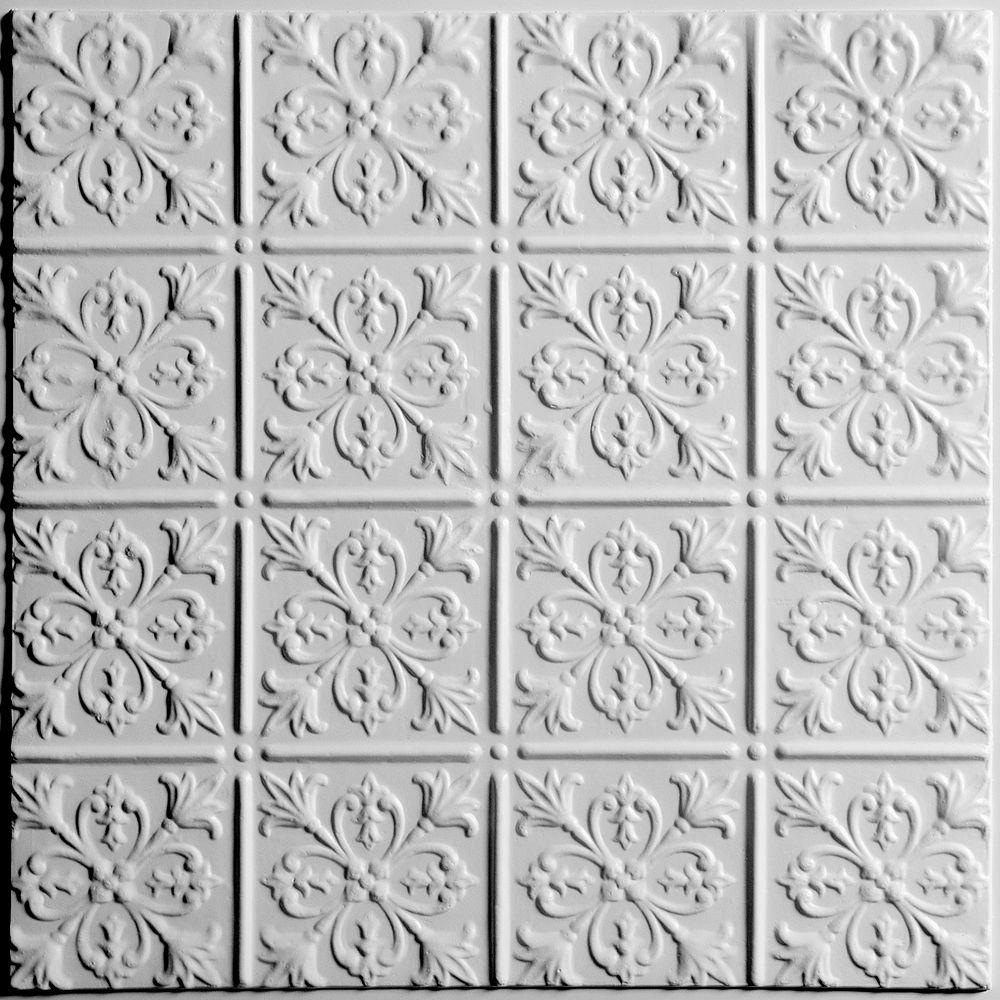 Ceilume Fleur-de-lis Tuile de Plafond Blanche, 2 pieds x 2 pieds à poser ou coller