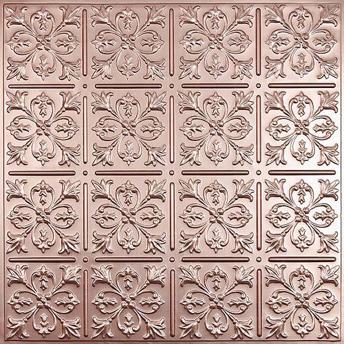 Fleur-de-lis Faux Copper Ceiling Tile, 2 Feet x 2 Feet Lay-in or Glue up