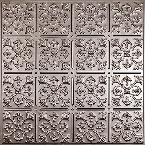 Fleur-de-lis Faux Tin Ceiling Tile, 2 Feet x 2 Feet Lay-in or Glue up